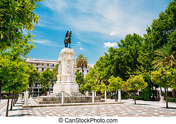 Monument to King Saint Ferdinand at New Square Plaza Nueva...