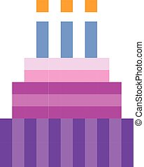 Birthday cake pixel art cartoon retro game style set