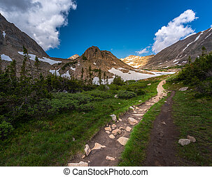 Trail towards Mt Tool and the Blue Lake - Trail towards the...
