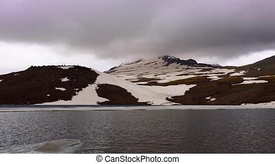 High mountain lake Kari, Aragats, Armenia timelapse video