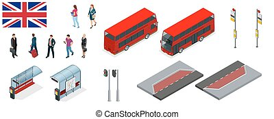 Isometric set of London double decker Red bus and bus stop....