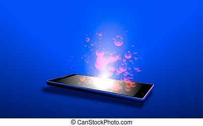Isometric image of an electronic tablet with a luminous screen. Vector illustration