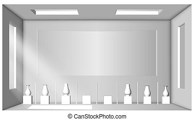 White room with two windows and a collection of vases. Showroom. Surrounding occlusion