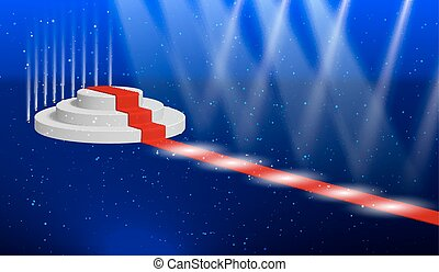 Cylindrical podium for presentations or performances with a red carpet, lit by spotlights