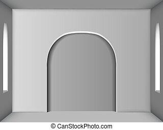 White room with two windows and an arch in the center. Ambient Occlusion