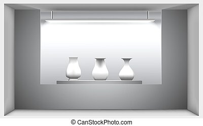 Exhibition hall, a stand with ancient amphorae lit by a lamp. Vector illustration. 3d interior.