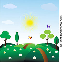 pastorale - toy landscape - sun, blue sky, green fields,...
