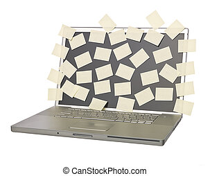 Laptop with with empty post-its