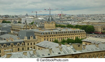Notre Dame aerial view - skyline aerial view of Paris in...