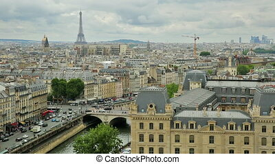 Notre Dame paris skyline view - top of the church Notre Dame...