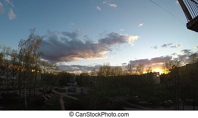 Sunset in Begunitsy. Russia timelapse