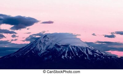 Movement of clouds over the top of Mount Ararat. Armenia