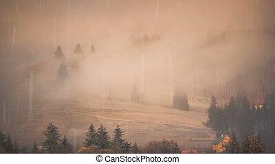 Beautiful autumn landscape. Misty mountain village -...