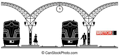 An ancient arched metal building of the railway station....