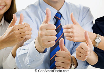 Team ok - Portrait of business teams hands showing sign of...