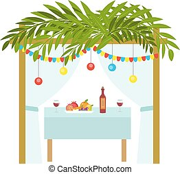 Sukkah for the Sukkot holiday. Jewish tent to celebrate. Isolated on white background. Vector illustration.