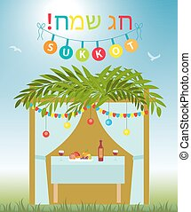 Greeting card Happy Sukkot with Sukkah. Template for a poster, flyer. Isolated on white background. Vector illustration.