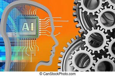 3d digital - 3d illustration of over orange background with...