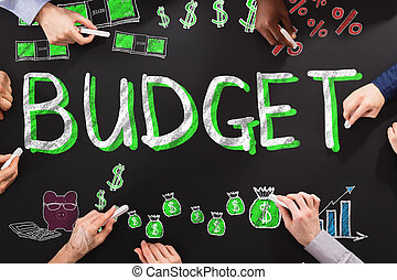 Budget Finance Concept - People Drawing Budget Finance...