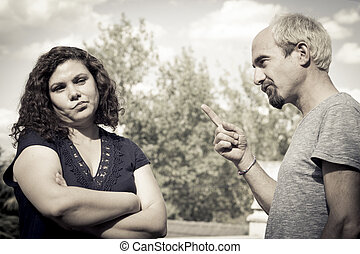 Couple in negative attitude angry