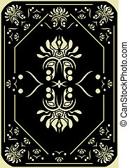 Card design. - Decorative pattern on a black background. The...