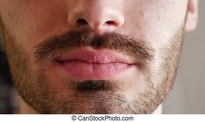 Close-up of man lips - Close-up of young man lips and mouth,...