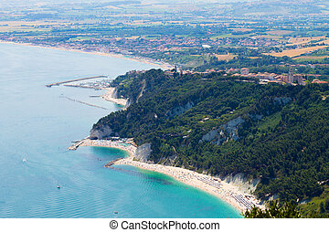 Sirolo beach from Monte Conero, Italy - Aerial view Sirolo...