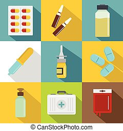 Medicinal preparations icon set, flat style - Medicinal...
