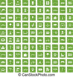 100 city icons set grunge green - 100 city icons set in...