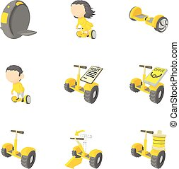 Segway icons set, cartoon style - Segway icons set. Cartoon...