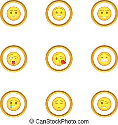Face with different emotions icons set