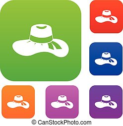 Woman hat set collection - Woman hat set icon in different...