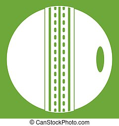 Black and white cricket ball icon green - Black and white...