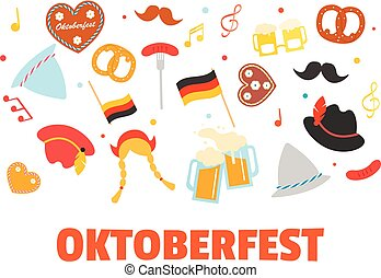 Oktoberfest banner with icons or photo booth props set....