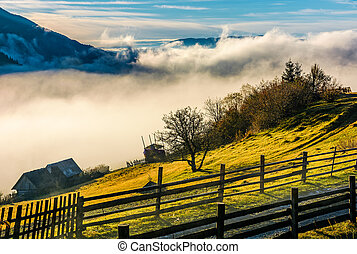 rural area on hillside in rising cloud at sunrise. gorgeous...