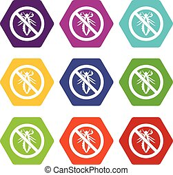 No louse sign icon set color hexahedron - No louse sign icon...
