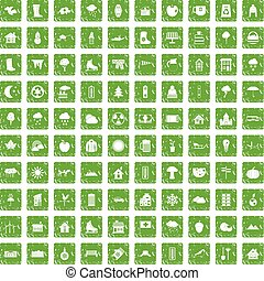 100 country house icons set grunge green