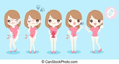 cartoon woman with menstruation before and after