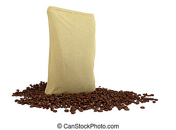 Sacking Package on coffee beans isolated over white