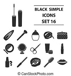 Make up set icons in black style. Big collection of make up vector illustration symbol.