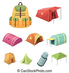 Various kinds of tents and other tourist accessories. The...