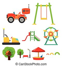 Play garden set icons in cartoon style. Big collection of...