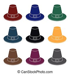 Pilgrim hat icon in black style isolated on white...