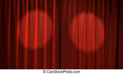Red Curtains with spotlights that move back and forth and...