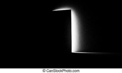 A black door opening and letting in white light.