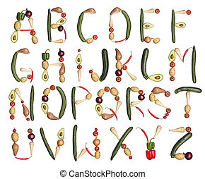 The Alphabet formed by vegetables - Vegetables forming the...