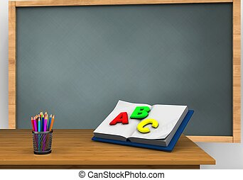 3d blank - 3d illustration of chalkboard with opened...