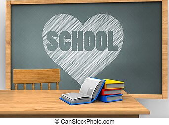 3d books - 3d illustration of chalkboard with heart and...