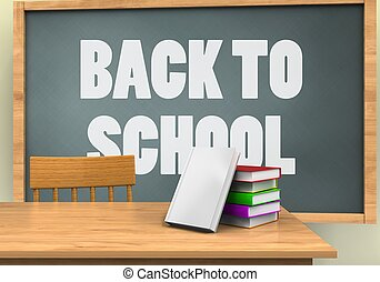 3d blank - 3d illustration of chalkboard with back to school...