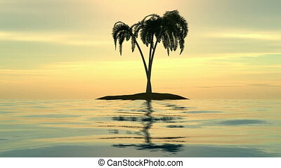A sunset over an island with palms.